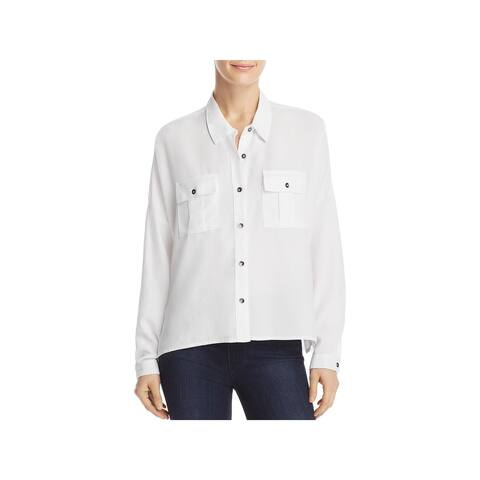 Splendid Womens Button-Down Top Long Sleeves Boxy