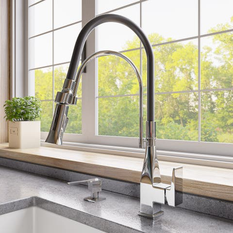 Polished Chrome Square Kitchen Faucet with Black Rubber Stem