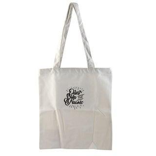 Sundries Storage DON'T STOP THE MUSIC Print Zipper Closure Canvas Tote Bag