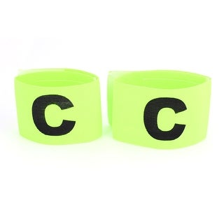 Unique Bargains 2 Pcs Elastic Hook Loop Closure Football Soccer Captain Armband with Letter C Printed