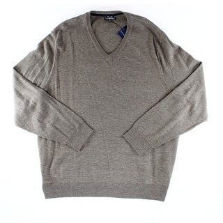 Club Room NEW Taupe Heather Brown Mens Size 3XL V-Neck Wool Sweater