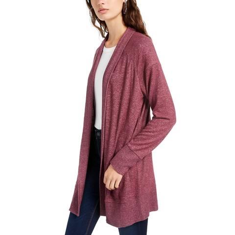 Hippie Rose Juniors' Cozy Cardigan Med Purple Size Large