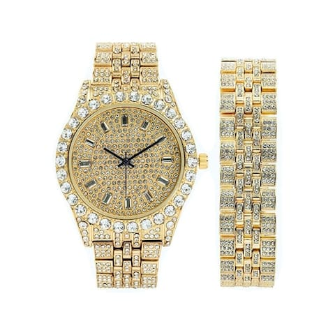 Mens Watch w/Matching Iced Rolly Hip Hop Bracelet - Big Rhinestones on Trim and Elegant Baguette Time Indicators on Dial