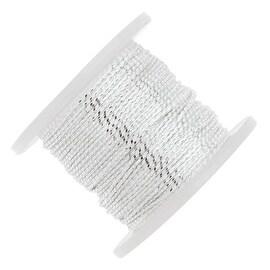 Beadalon Tassel Cord, Cotton Strands 0.76mm Thick, 20 Meters, Metallic Silver on White
