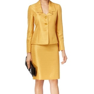 Le Suit NEW Yellow Gold Metallic Shimmer Women's Size 6 Skirt Suit Set