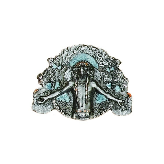Indian Ancient Spirit Silver Belt Buckle - One size