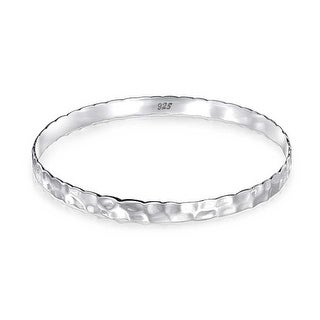 Bling Jewelry 925 Sterling Silver Hammered Bangle Bracelet 7in