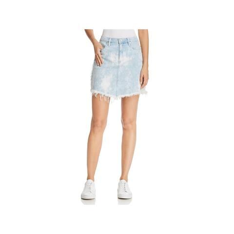 Blank NYC Womens Denim Skirt Denim Acid Wash