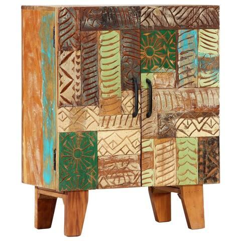 "vidaXL Hand Carved Sideboard 23.6""x11.8""x29.5"" Solid Reclaimed Wood"