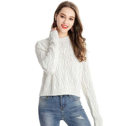 Women's Sweater Solid Color Round Neck Sweater