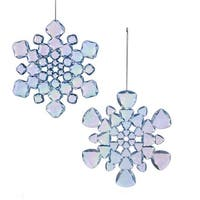 Club Pack of 12 Light-catching Iridescent Blue Snowflake Christmas Ornaments 6""