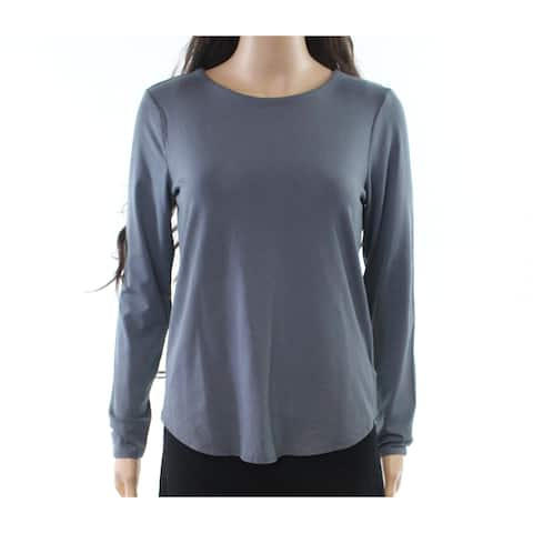 Cupio Women's Canyon Gray Size Small S Crew Neck Curved Hem Knit Top