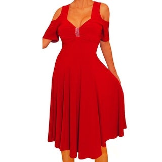 Funfash Plus Size Women Open Cold Open Shoulder Red Dress Made in USA