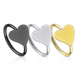 Heart IP Over 316L Surgical Steel Nose Ring (Sold Ind.)