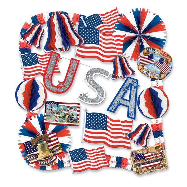 22 Piece Red White And Blue Patriotic Usa 4th Of July Decorating Kit Overstock 21707110