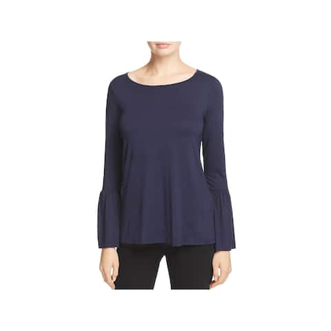 Three Dots Womens Casual Top Jersey Button