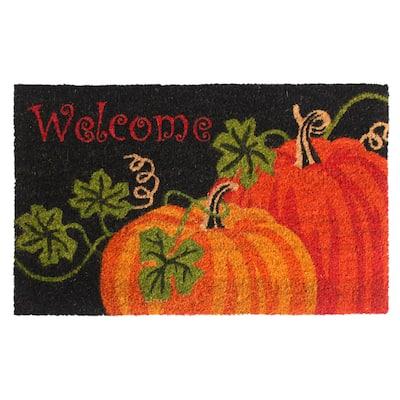 "RugSmith Orange Machine Tufted Welcome Pumpkin Doormat, 18"" x 30"" - 18"" x 30"""