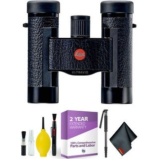 LEICA OPTICS 40264 BLACK 10X25 ULTRAVID BINOCULARS + Cleaning Kit + 2 Year Extended Warranty