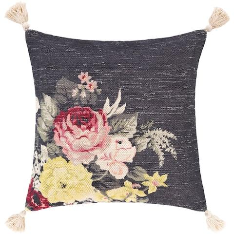 Deidra Handwoven Floral Tassel Cotton Throw Pillow