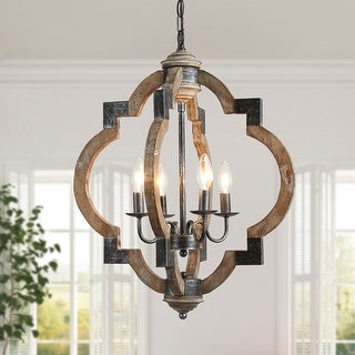 Link to Farmhouse 3/4-lights Distressed Wood Chandelier Candle Foyer Pendant Lighting for Dining Room Similar Items in Chandeliers