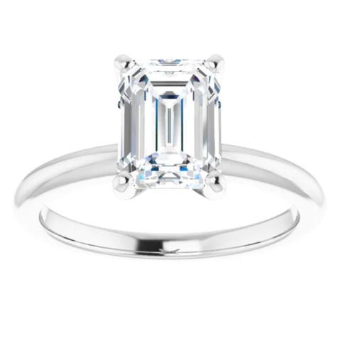 2Ct Emerald Cut Solitaire Moissanite Engagement Ring White Yellow or Rose Gold