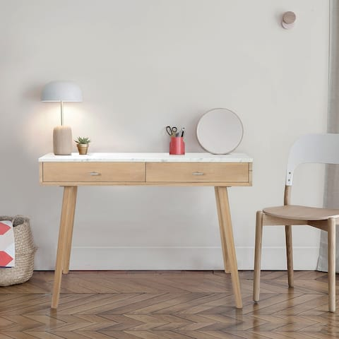 Versatile And Stylish Marble White Writing Desk To Elevate And Complete Any Space