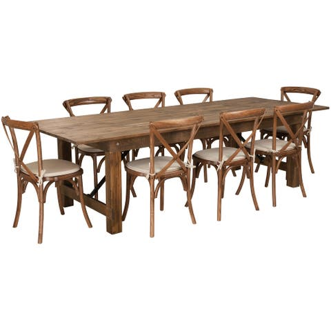 """9' x 40"""" Rustic Folding Farm Table Set with 8 Cross Back Chairs and Cushions"""