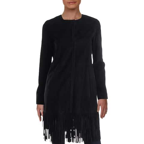Elie Tahari Womens Melody Midi Coat Suede Fringe - Black