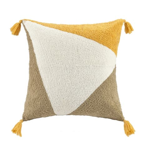 Ren Yellow Embroidered Abstract Square Pillow by INK+IVY