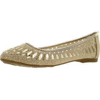 Forever Karra-14 Womens Shimmer Glitter Mesh See Through Rhinestone Cut Out Ballet Flat Shoes