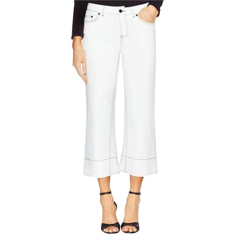 Vince Camuto Womens Contrast Stitched Wide Leg Jeans, White, 6