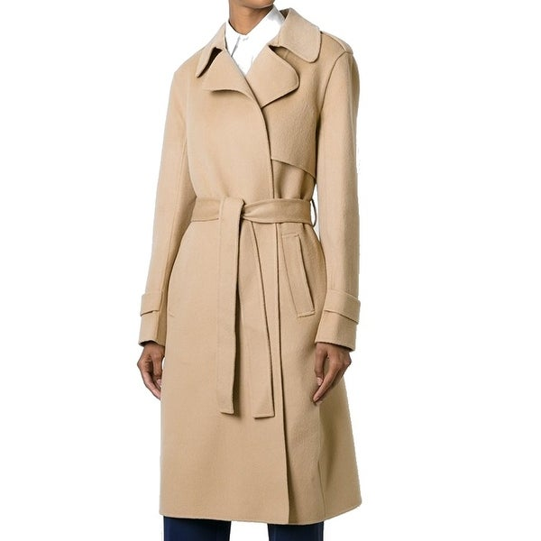 842bd758ca Theory NEW Oaklane Beige Womens Size Medium M Belted Wool Trench Coat