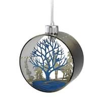"5"" Pre-Lit Silhouette Glass Christmas Ornament "" Warm White Lights - brown"