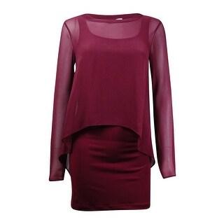 BCBGeneration Women's Chiffon Popover Jersey Sheath Dress - Deep Maroon - XXS
