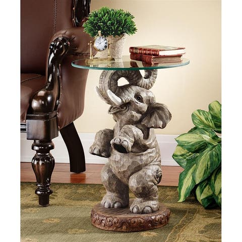 Design Toscano Good Fortune Elephant Sculpture Glass-Topped Table - 16 x 16 x 21.5