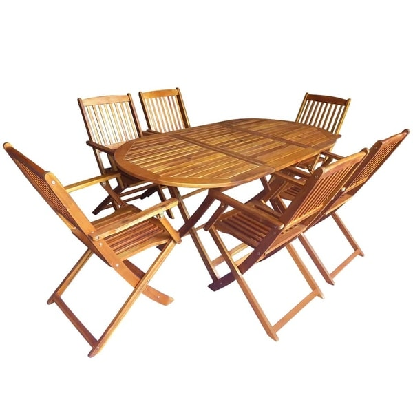 vidaXL Outdoor Dining Set 7 Piece Folding Solid Eucalyptus Wood Garden Patio