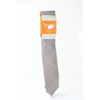 Tallia NEW Taupe Brown One Size Plaid Woven Neck Tie & Pocket Square
