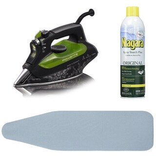Rowenta DW6080 Eco Intelligence Steam Iron w/ Ironing Board Cover & Starch Spray