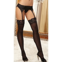 f3fee862e5f Lace Top Sheer Thigh High - Black - One Size Fits Most. Sale