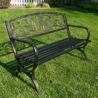 """Belleze 50"""" Garden Backyard Bench, Metal, Bronze Finish"""