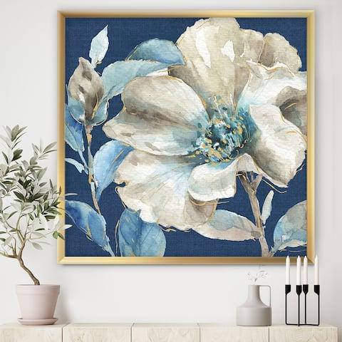 Designart 'Indigold Watercolor Flower I' Farmhouse Framed Art Print