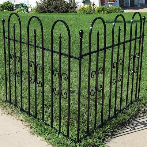 Sunnydaze 2-Piece Decorative Finial Garden Landscape Iron Border Fence - Black