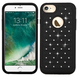 Insten Hard PC/ Silicone Dual Layer Hybrid Rubberized Matte Case Cover with Diamond For Apple iPhone 7