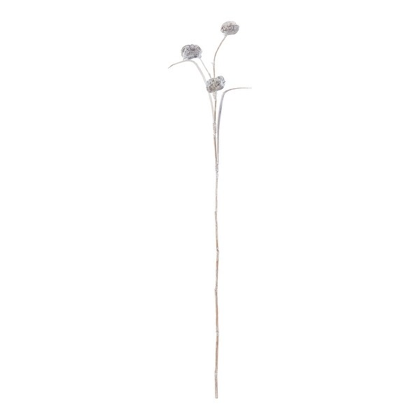 "63"" Whitewash Unique Freestanding Pangi Flowers Decorative Accessory - N/A"