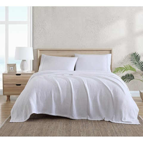 Tommy Bahama Organic Cotton Solid Reversible White Blanket
