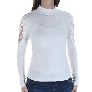 Womens Ivory Long Sleeve Turtle Neck Top Size S