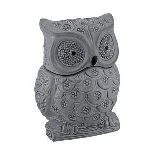 Gray Ceramic Owl Shaped Decorative Cookie Jar