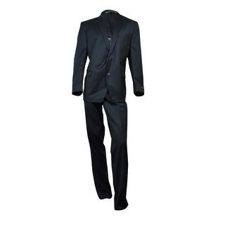 Andrew Marc Men's Tonal Plaid Slim-Fit Suit 48R, Black - 48 r/42 w