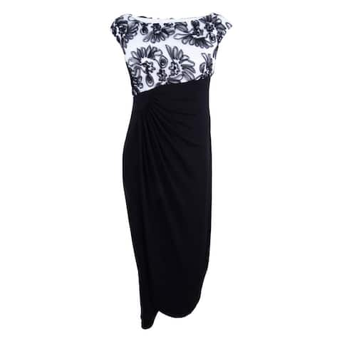 Connected Women's Plus Size Soutache Embroidered Wrap Gown - Ivory/Black