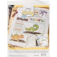 "Dino Baby Crib Cover Stamped Cross Stitch Kit-34""X43"""